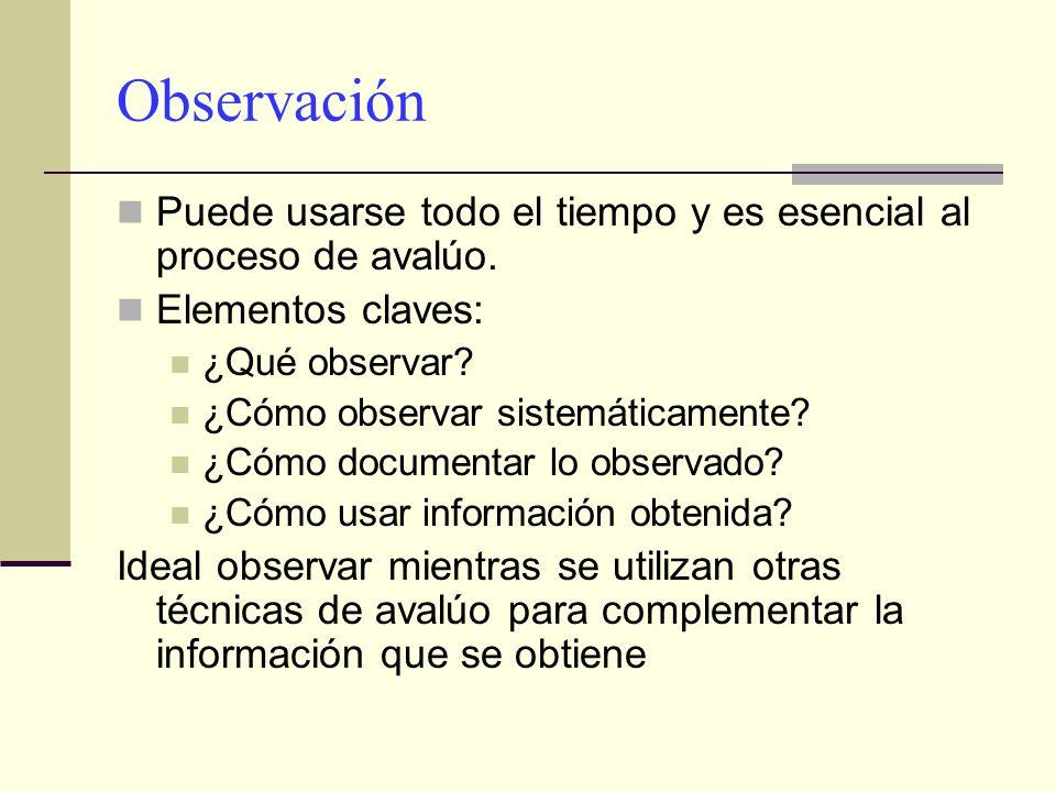 Observación Puede usarse todo el tiempo y es esencial al proceso de avalúo. Elementos claves: ¿Qué observar