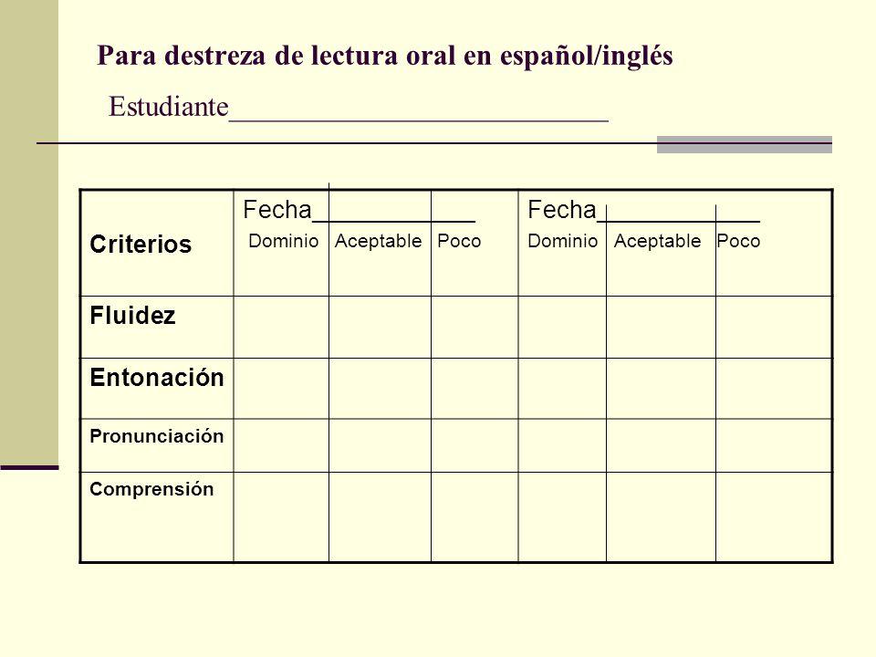 Para destreza de lectura oral en español/inglés Estudiante__________________________