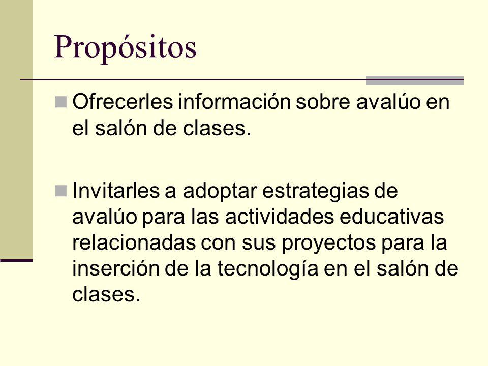 Propósitos Ofrecerles información sobre avalúo en el salón de clases.