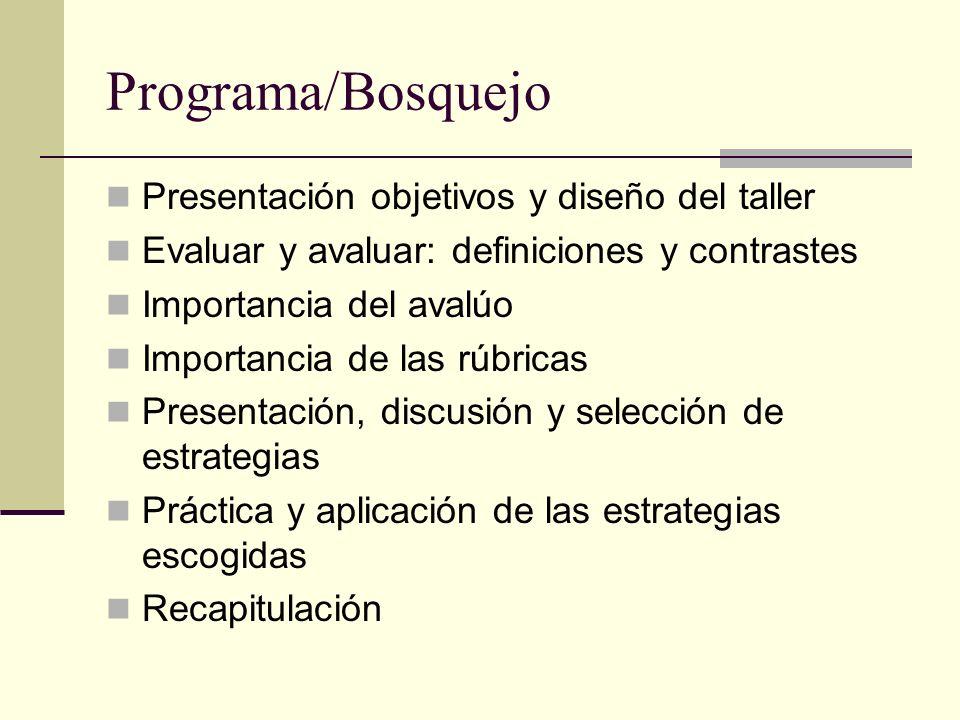 Programa/Bosquejo Presentación objetivos y diseño del taller