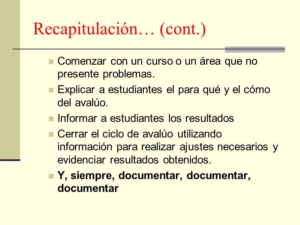 Recapitulación… (cont.)