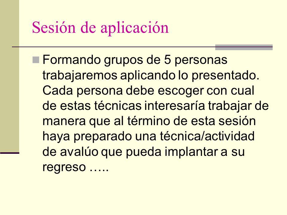 Sesión de aplicación