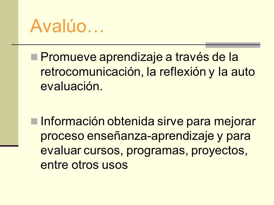 Avalúo… Promueve aprendizaje a través de la retrocomunicación, la reflexión y la auto evaluación.