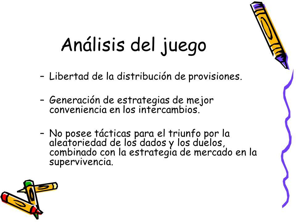 Análisis del juego Libertad de la distribución de provisiones.