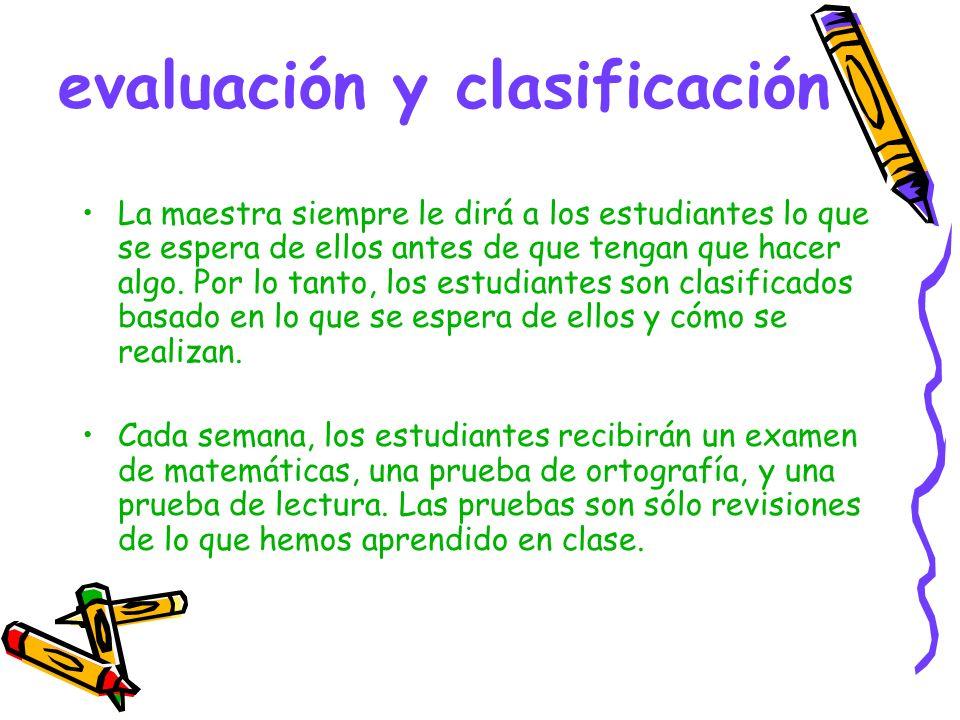 evaluación y clasificación