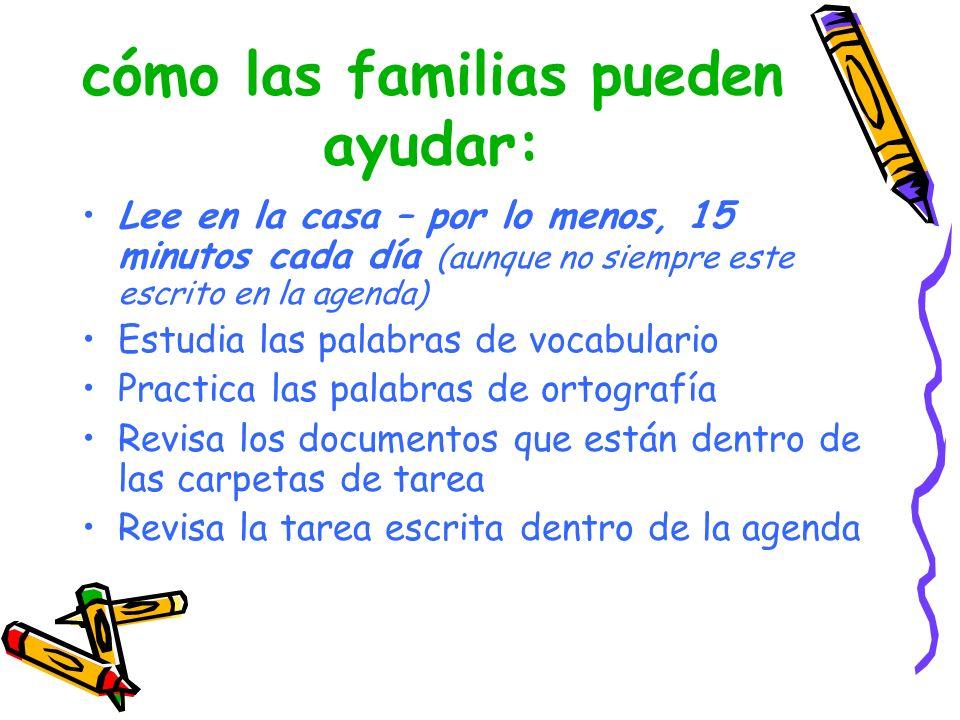 cómo las familias pueden ayudar: