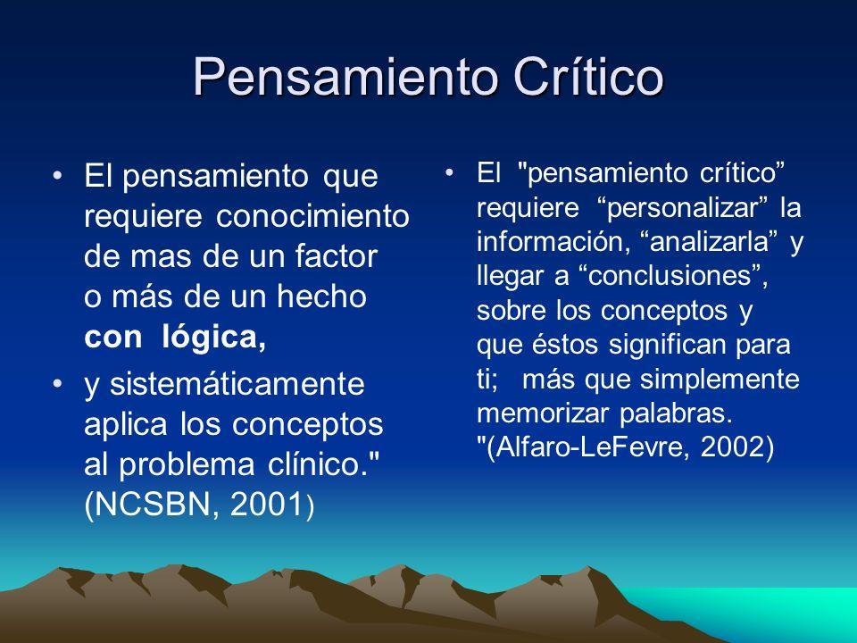 Pensamiento Crítico El pensamiento que requiere conocimiento de mas de un factor o más de un hecho con lógica,