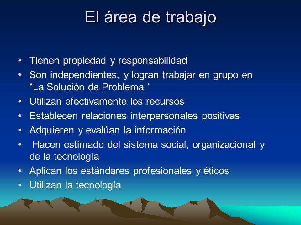 El área de trabajo Tienen propiedad y responsabilidad