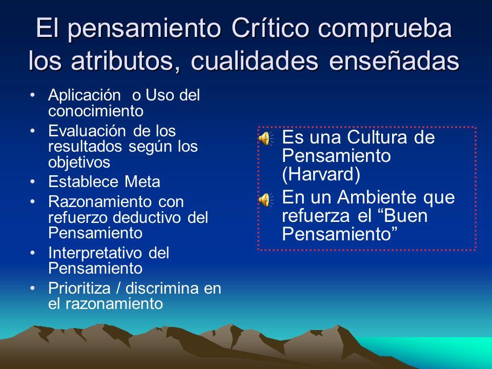 El pensamiento Crítico comprueba los atributos, cualidades enseñadas