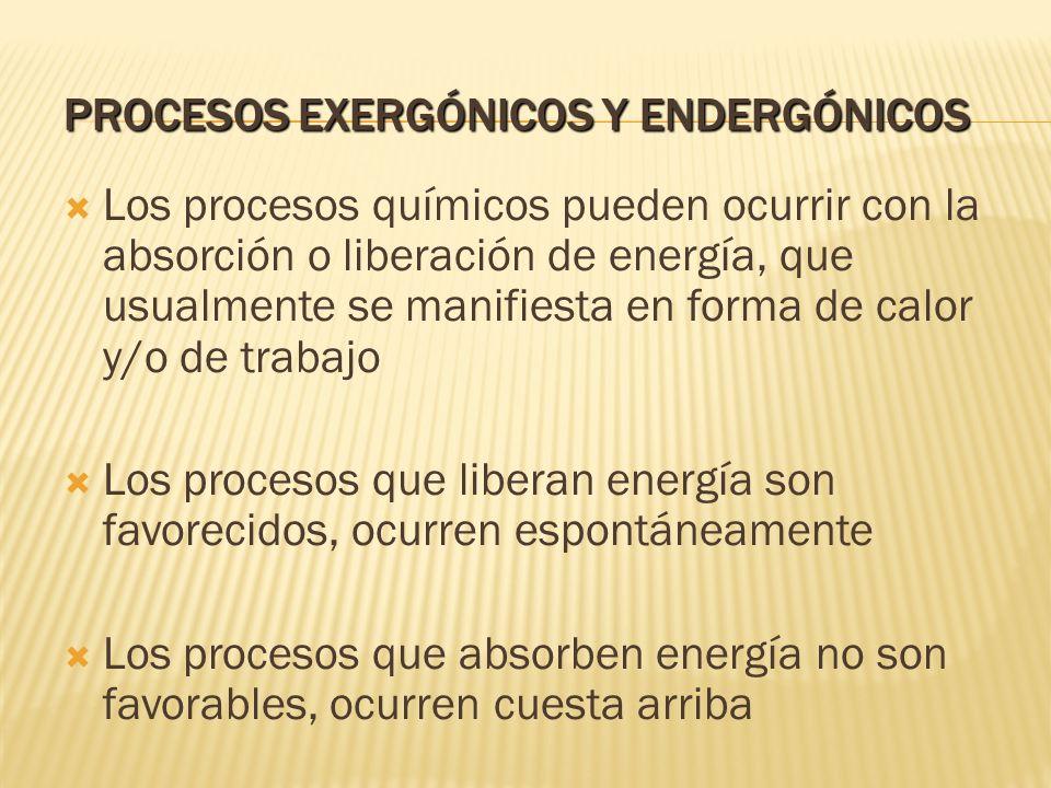 Procesos exergónicos y endergónicos