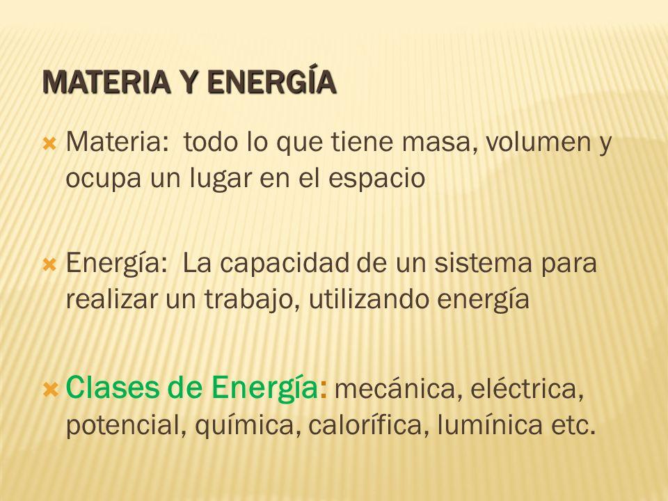 Materia y Energía Materia: todo lo que tiene masa, volumen y ocupa un lugar en el espacio.