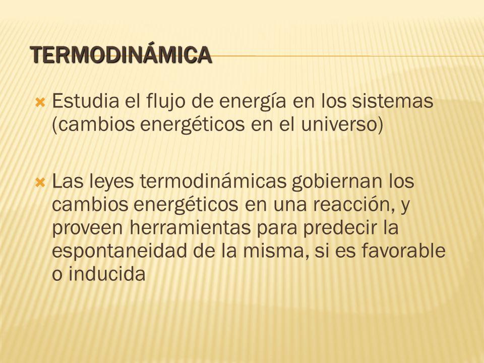 TERMODINÁMICA Estudia el flujo de energía en los sistemas (cambios energéticos en el universo)