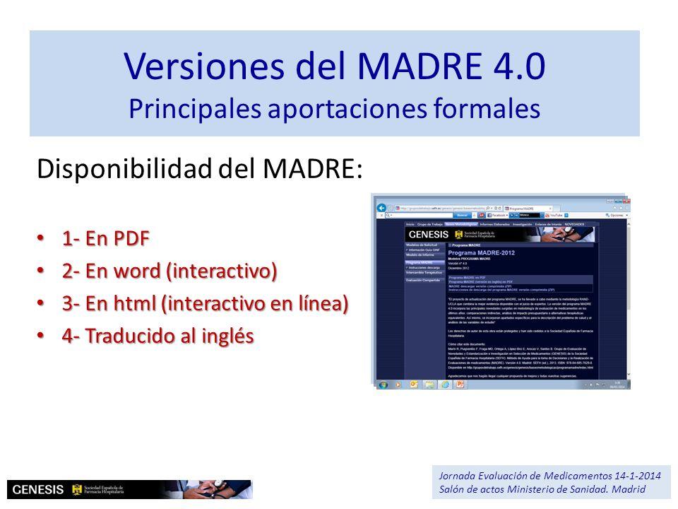 Versiones del MADRE 4.0 Principales aportaciones formales