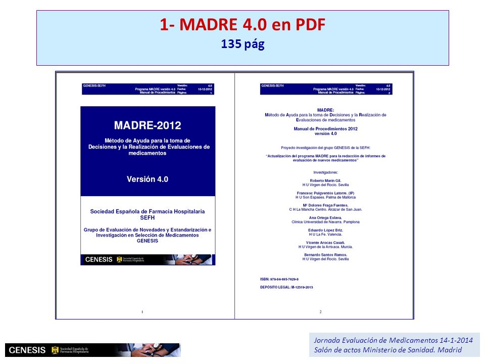 1- MADRE 4.0 en PDF 135 pág. Jornada Evaluación de Medicamentos 14-1-2014.