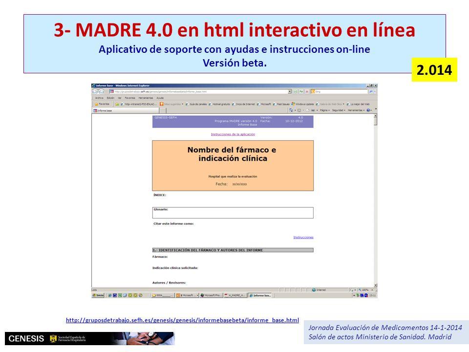 3- MADRE 4.0 en html interactivo en línea Aplicativo de soporte con ayudas e instrucciones on-line Versión beta.