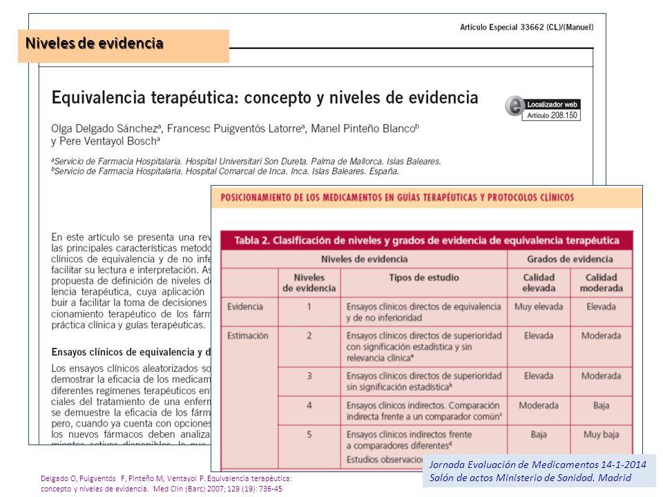 Niveles de evidencia Jornada Evaluación de Medicamentos 14-1-2014