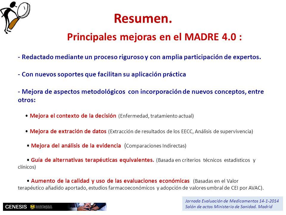 Resumen. Principales mejoras en el MADRE 4.0 :