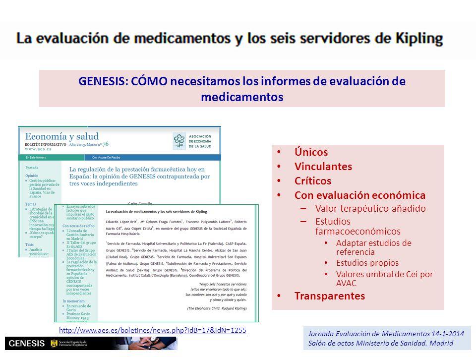 GENESIS: CÓMO necesitamos los informes de evaluación de medicamentos