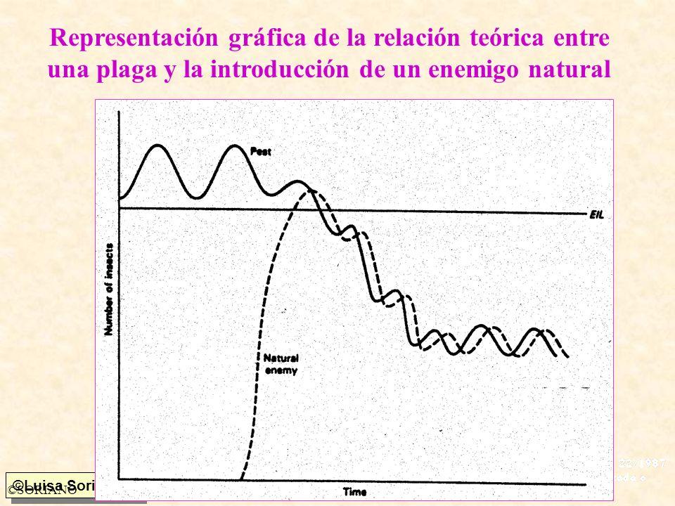 Representación gráfica de la relación teórica entre una plaga y la introducción de un enemigo natural