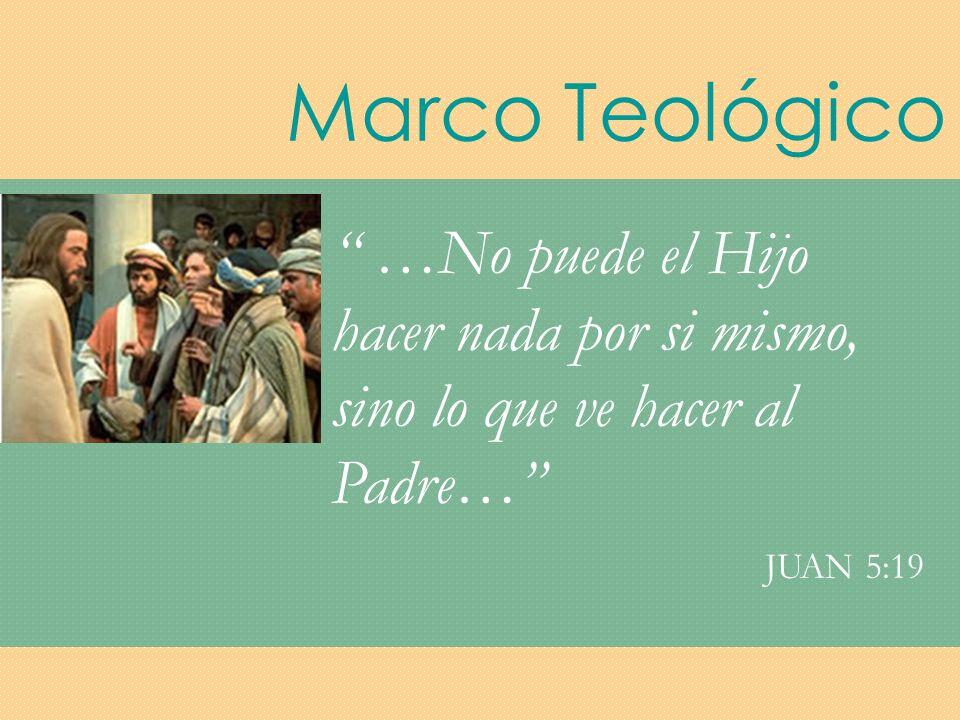 Marco Teológico …No puede el Hijo hacer nada por si mismo, sino lo que ve hacer al Padre… JUAN 5:19.