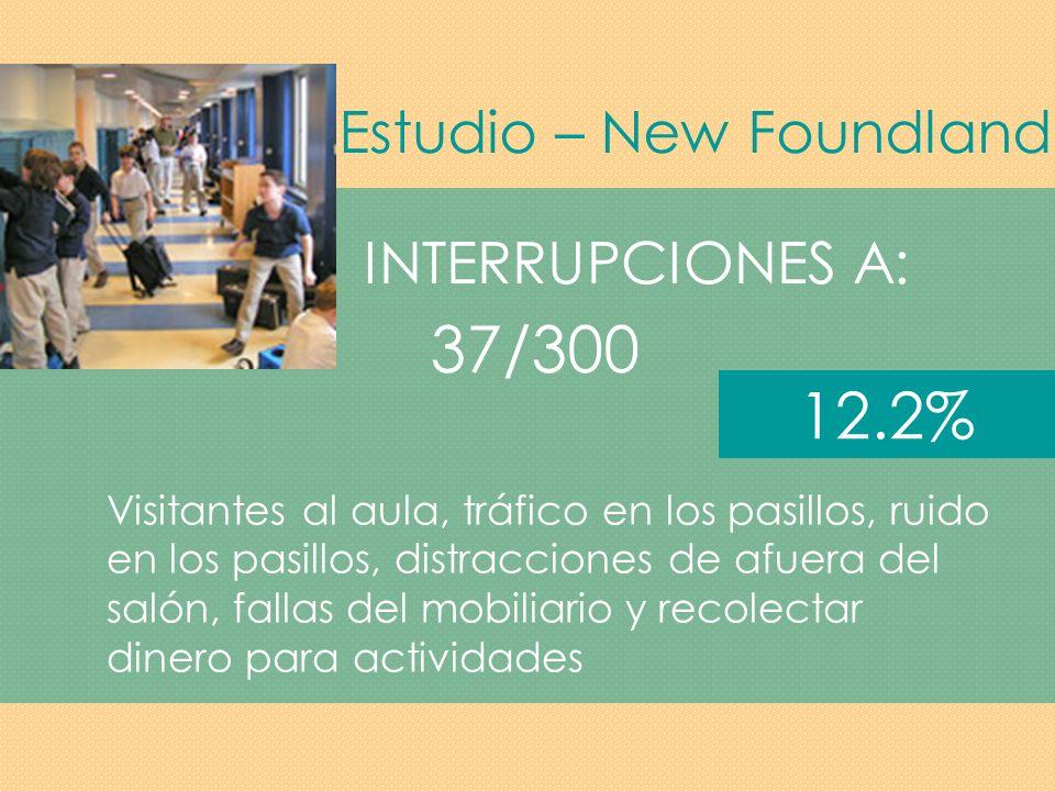 37/300 12.2% Estudio – New Foundland INTERRUPCIONES A: