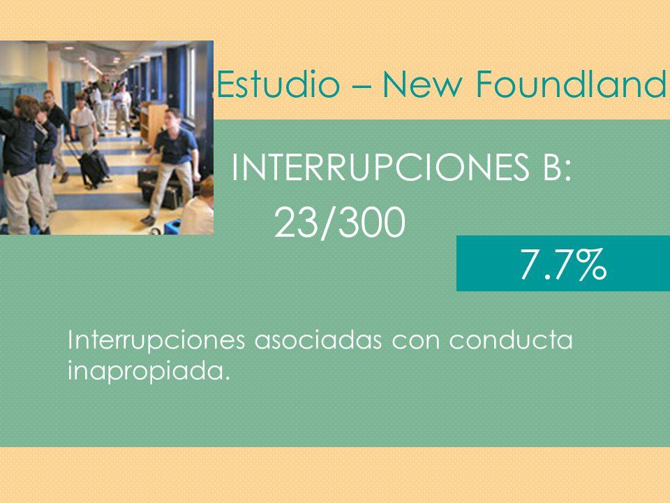 23/300 7.7% Estudio – New Foundland INTERRUPCIONES B: