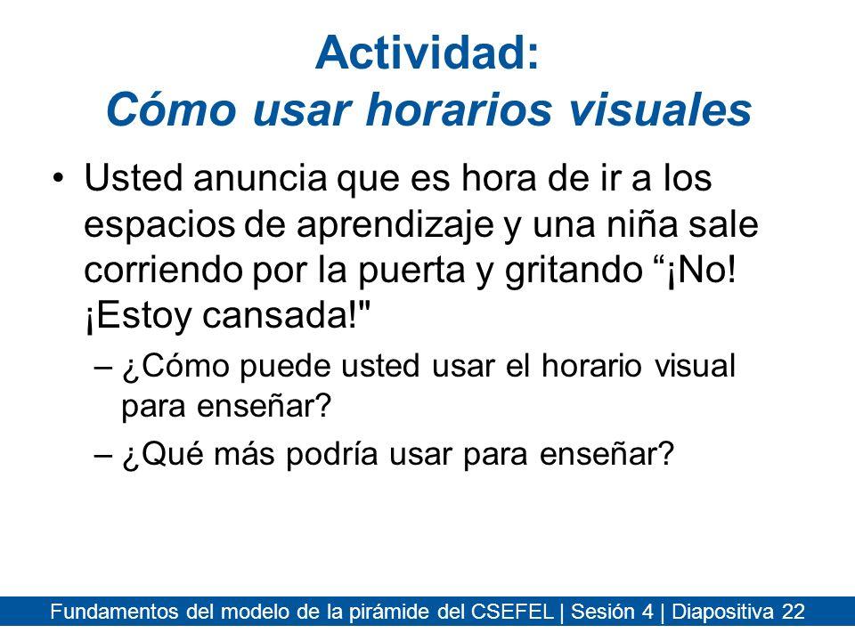 Actividad: Cómo usar horarios visuales