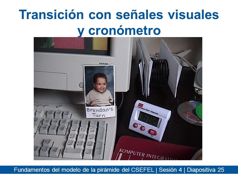 Transición con señales visuales y cronómetro