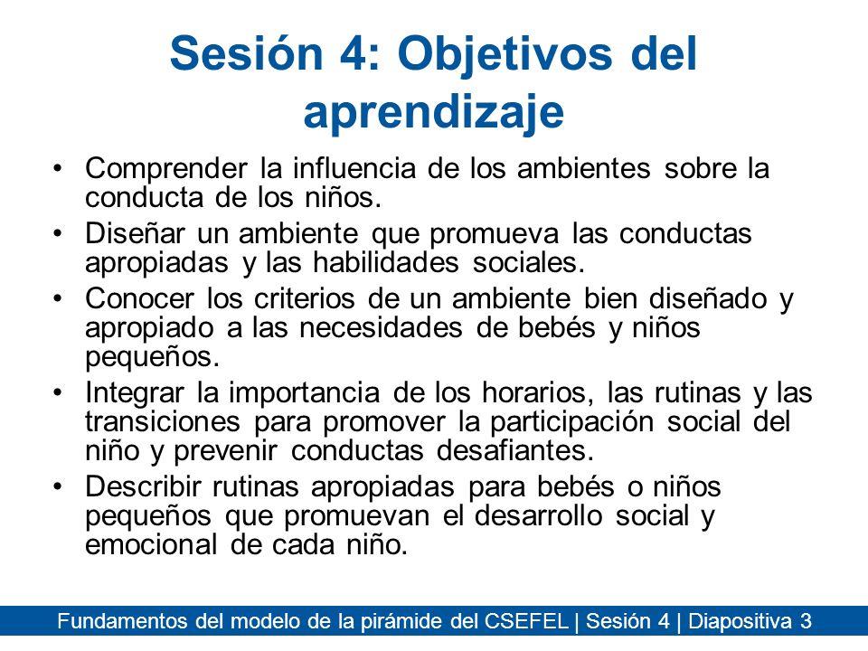 Sesión 4: Objetivos del aprendizaje