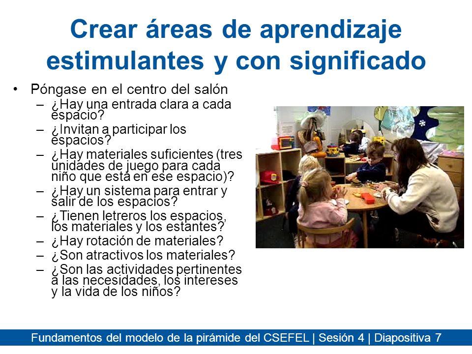 Crear áreas de aprendizaje estimulantes y con significado