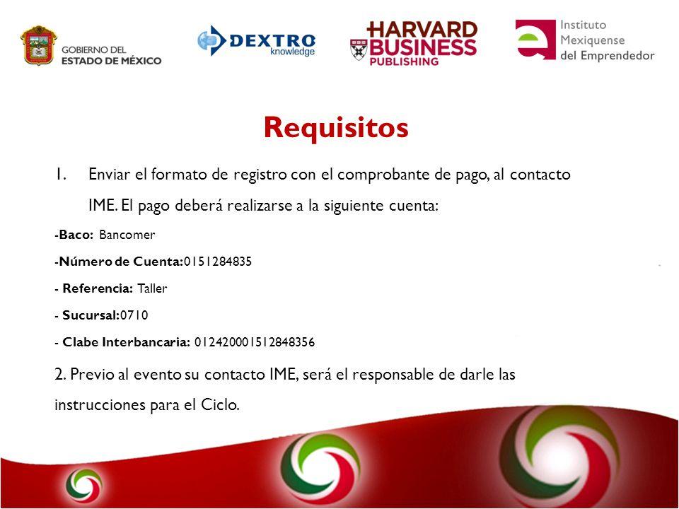 Requisitos Enviar el formato de registro con el comprobante de pago, al contacto IME. El pago deberá realizarse a la siguiente cuenta: