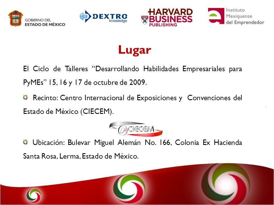 Lugar El Ciclo de Talleres Desarrollando Habilidades Empresariales para PyMEs 15, 16 y 17 de octubre de 2009.