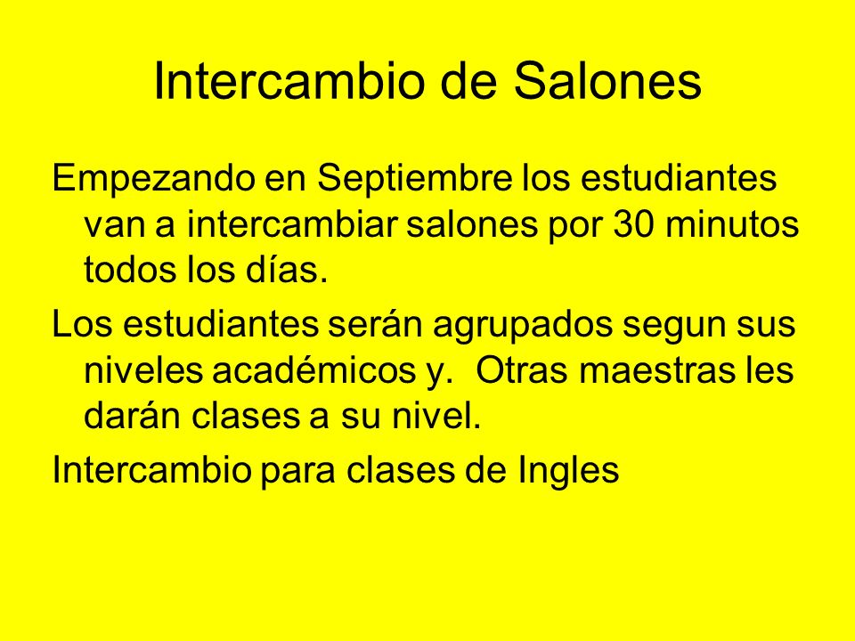 Intercambio de Salones