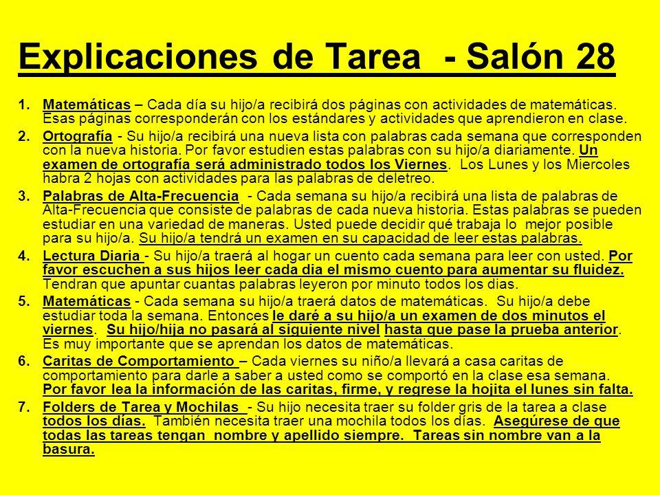 Explicaciones de Tarea - Salón 28