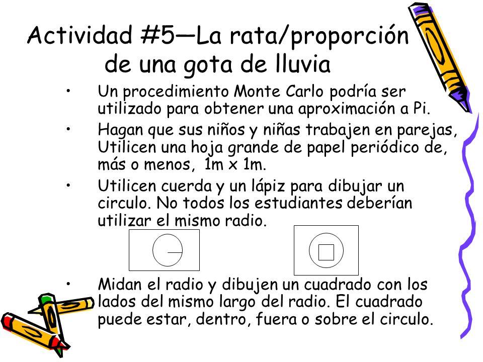 Actividad #5—La rata/proporción de una gota de lluvia