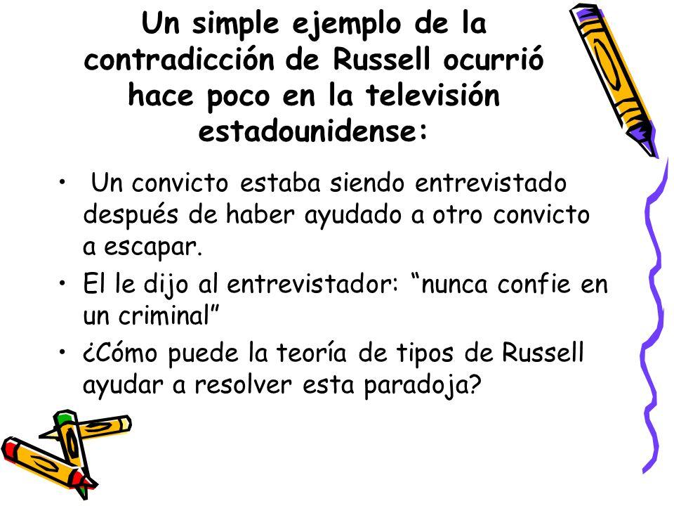 Un simple ejemplo de la contradicción de Russell ocurrió hace poco en la televisión estadounidense:
