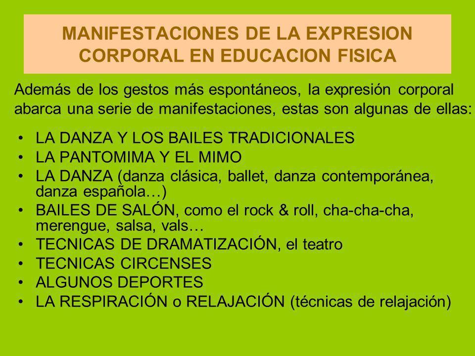 MANIFESTACIONES DE LA EXPRESION CORPORAL EN EDUCACION FISICA