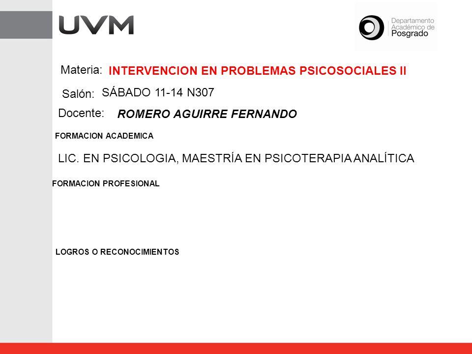 INTERVENCION EN PROBLEMAS PSICOSOCIALES II