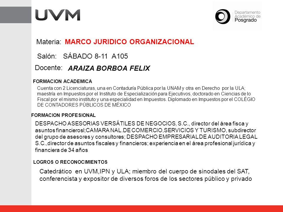 MARCO JURIDICO ORGANIZACIONAL