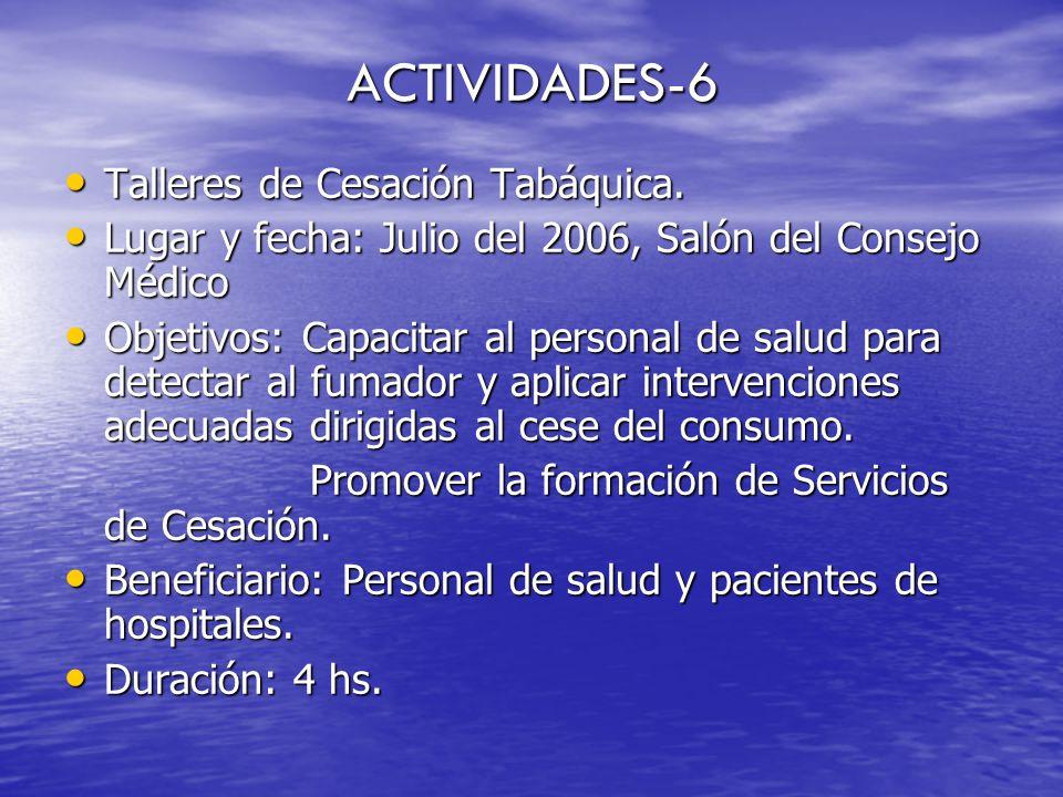 ACTIVIDADES-6 Talleres de Cesación Tabáquica.