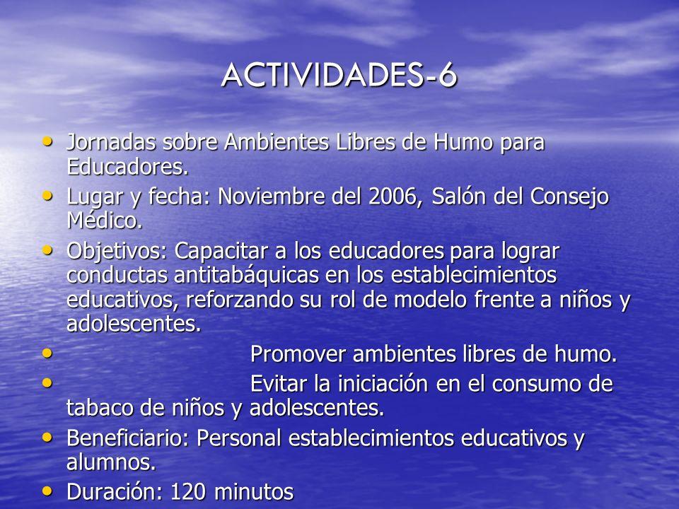 ACTIVIDADES-6 Jornadas sobre Ambientes Libres de Humo para Educadores.