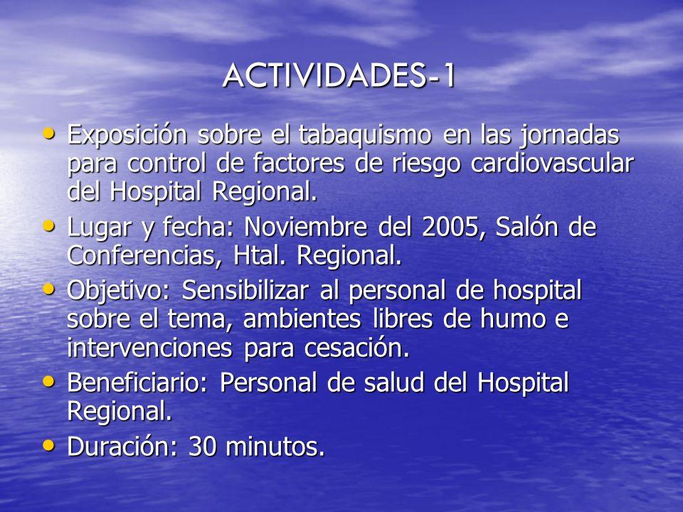 ACTIVIDADES-1 Exposición sobre el tabaquismo en las jornadas para control de factores de riesgo cardiovascular del Hospital Regional.