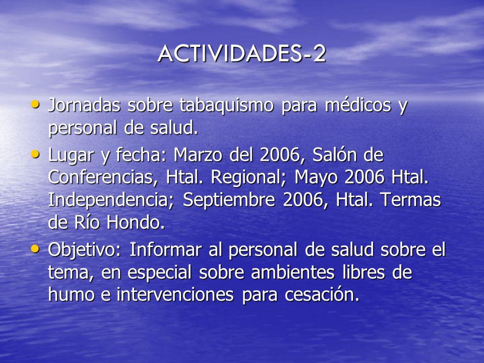 ACTIVIDADES-2 Jornadas sobre tabaquismo para médicos y personal de salud.
