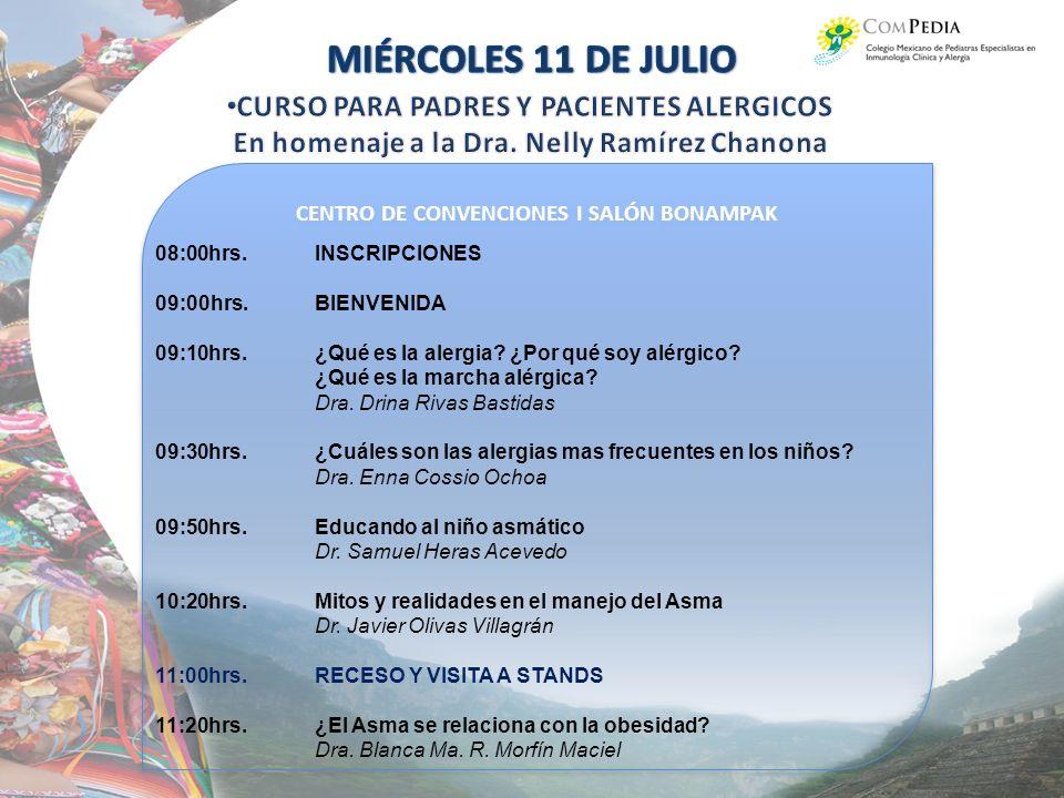 MIÉRCOLES 11 DE JULIO CURSO PARA PADRES Y PACIENTES ALERGICOS