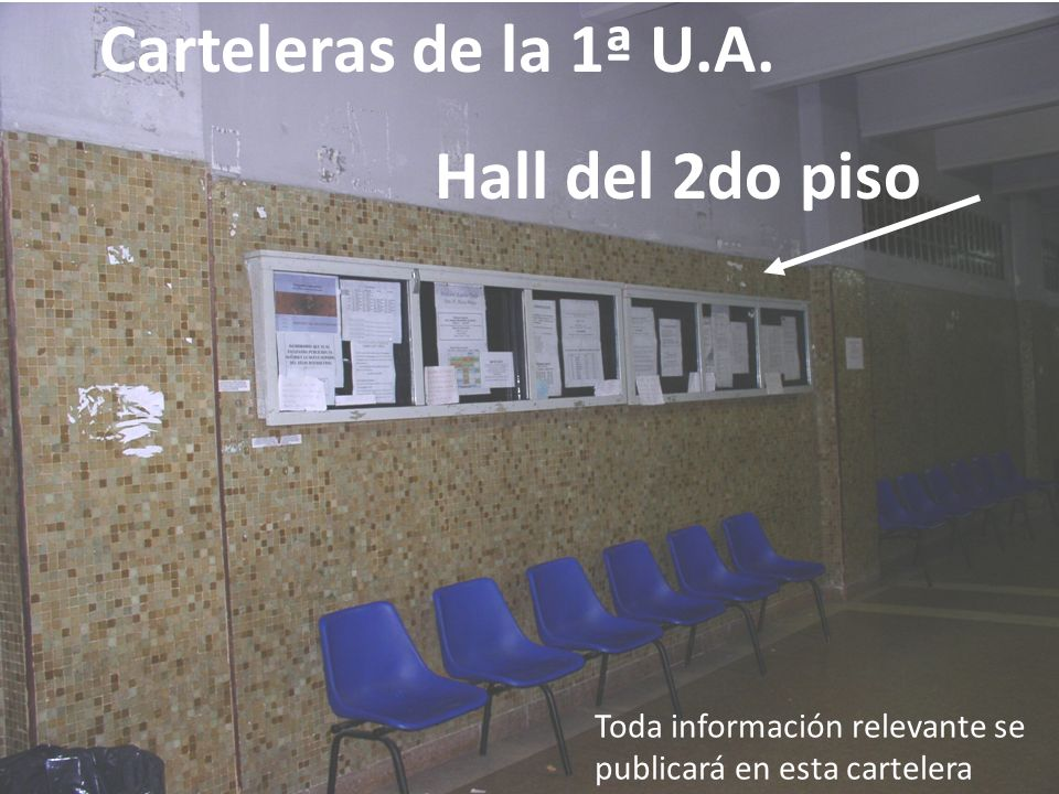 Carteleras de la 1ª U.A. Hall del 2do piso