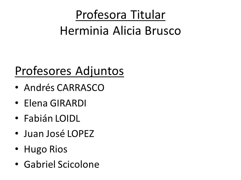 Profesora Titular Herminia Alicia Brusco