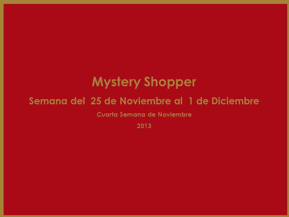 Mystery Shopper Semana del 25 de Noviembre al 1 de Diciembre