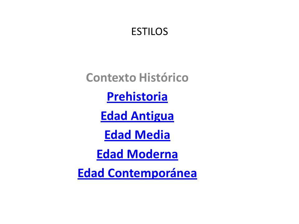 Contexto Histórico Prehistoria Edad Antigua Edad Media Edad Moderna