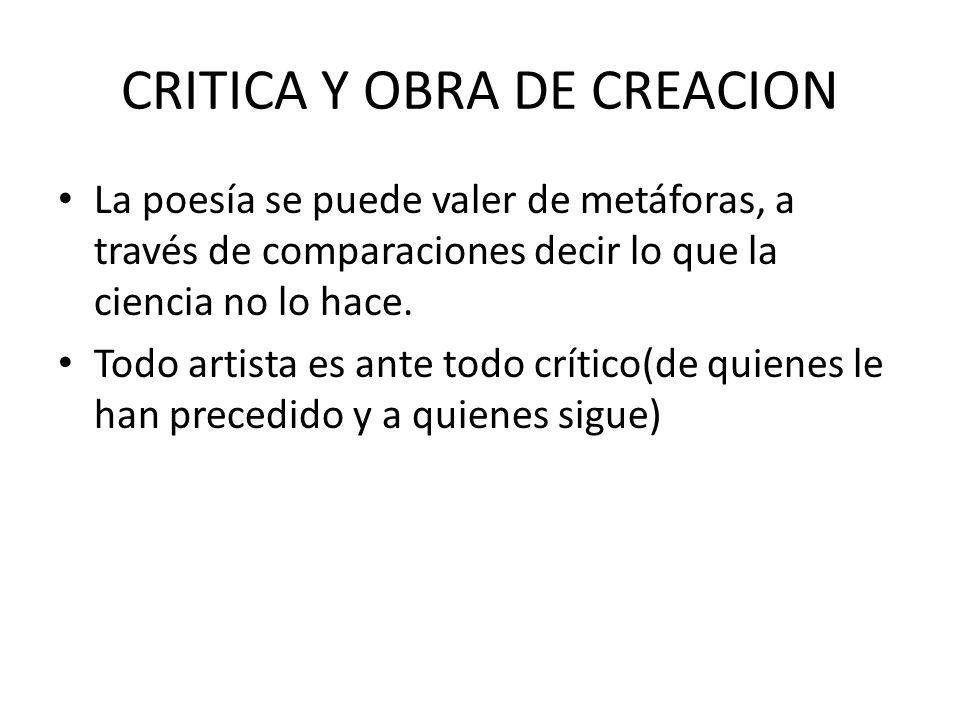 CRITICA Y OBRA DE CREACION