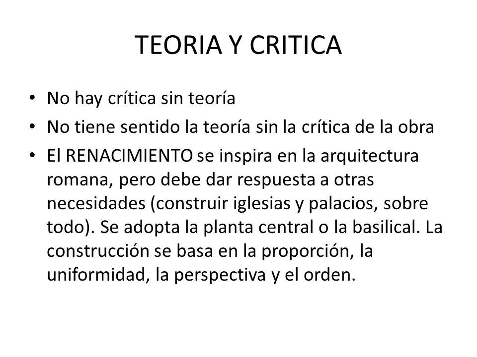 TEORIA Y CRITICA No hay crítica sin teoría